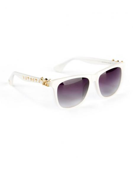 WiGi Atlantean Pearl White Frame with Gold Metal Castings Luxury Glasses