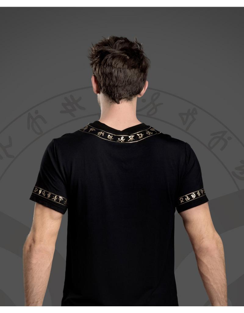 WiGi Atlantean Luxury Black T-Shirt With Gold Pattern - Limited