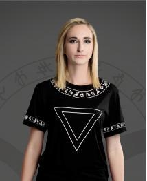 WiGi Atlantean Luxury Black T-Shirt With White Pattern
