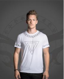 WiGi Atlantean Luxury White T-Shirt With Black Pattern